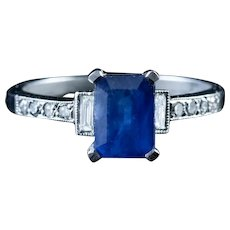 1.10ct Sapphire 0.60ct Diamond Engagement Ring Platinum