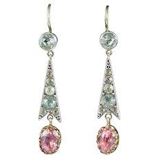 Antique Edwardian Pink Paste Drop Earrings Silver Circa 1915