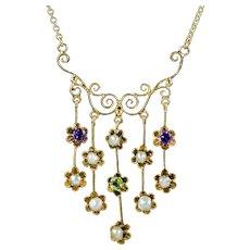 Antique Suffragette Floral Lavaliere Necklace 18ct Gold Circa 1910