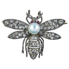 Diamond Pearl Ruby Bee Brooch Silver 18ct Gold 1ct Diamonds