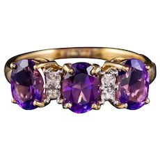 Vintage Amethyst Diamond Trilogy Ring 18ct Gold 2.40ct Of Amethyst