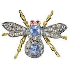 Sapphire Diamond Bee Brooch 18ct Gold Silver Ruby Eyes