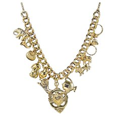 Vintage Gold Charm Necklace 9ct Gold 12 Charms And Medallion Dated 1920