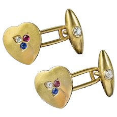Antique Heart Cufflinks Ruby Sapphire Diamond 18ct Gold Garrard Box Circa 1890