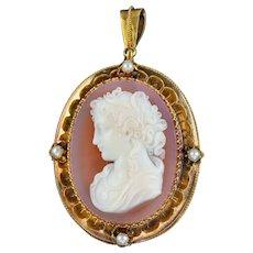 Antique Victorian Hardstone Cameo Pearl Brooch Pendant 18ct Gold Circa 1860