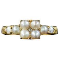 Antique Victorian Natural Pearl Diamond Ring Circa 1880