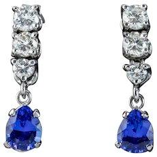 Tanzanite Diamond Drop Earrings 18ct White Gold 1.20ct Of Tanzanite