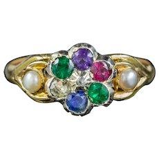 Antique Victorian Dearest Gemstone Ring 15ct Gold Circa 1890