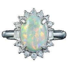 Vintage Opal Diamond Cluster Ring Platinum 1.91ct Natural Opal Circa 1960