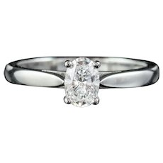 Diamond Solitaire Engagement Ring 18ct White Gold 0.75ct Diamond