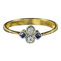 Art Deco Sapphire Diamond Cluster Ring Circa 1920