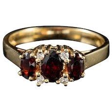 1ct Garnet Diamond 9ct Gold Engagement Ring