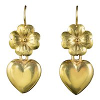 Antique Victorian Heart Four Leaf Clover Earrings 18ct Gold Circa 1860