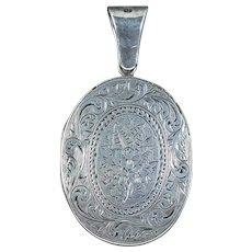 Antique Victorian Floral Locket Sterling Silver Circa 1880