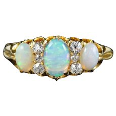 Antique Victorian Opal Diamond Trilogy Ring 18ct Gold Circa 1900
