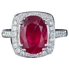Ruby Diamond Cluster Ring Platinum 3.80ct Ruby