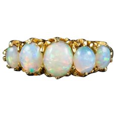 Antique Victorian Opal Five Stone Ring 18ct Gold 2.20ct Of Opal Circa 1900