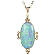 Antique Victorian Opal Pearl Pendant Necklace 15ct Gold 25ct Natural Opal Circa 1900