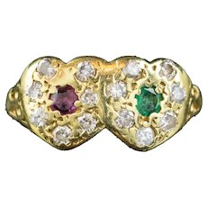 Vintage Ruby Emerald Diamond Double Heart Ring 18ct Gold Dated 1979