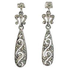 Art Deco Marcasite Drop Earrings Silver Circa 1920
