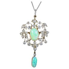 Antique Edwardian Opal Diamond Pendant Necklace Platinum 18ct Gold 2.50ct Of Diamond Circa 1905