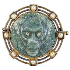 Antique Victorian Labradorite Monkey Brooch Diamond Pearl 18ct Gold Circa 1860