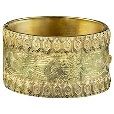 Antique Victorian Forget Me Not Cuff Bangle Silver 18ct Gold Gilt Dated 1883