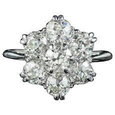 Vintage Diamond Cluster Ring 18ct Gold Platinum 2.10ct Of Diamond