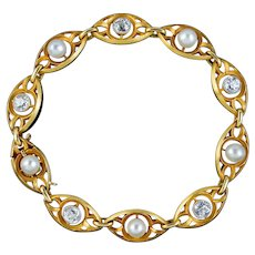 Antique Art Nouveau French Diamond Pearl Bracelet 18ct Gold 3ct Of Diamond Circa 1900