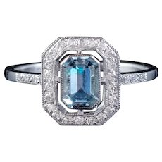 Aquamarine Diamond Cluster Ring Platinum 1.25ct Aqua