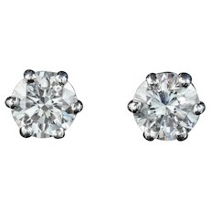 Diamond Solitaire Stud Earrings 18ct White Gold 1.20ct Of Diamond