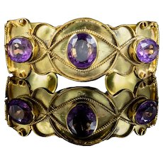 Antique Victorian Etruscan Amethyst Bangle 18ct Gold On Silver Circa 1880