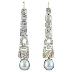 Pearl Diamond Drop Earrings Platinum 18ct Gold Wires 2ct Of Diamond