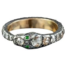 Diamond Snake Eternity Ring 18ct Gold Silver Emerald Eyes 2ct Of Diamond