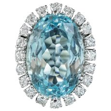 Vintage Aquamarine Diamond Cocktail Ring 14ct White Gold 13ct Aqua 1.60ct Diamond