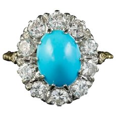 Antique Edwardian Turquoise Diamond Cluster Ring Platinum 18ct Gold 2ct Of Diamond Circa 1905