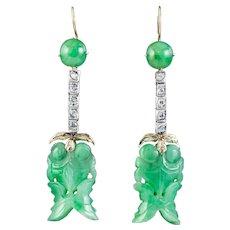 Antique Edwardian Jade Diamond Drop Earrings Platinum 18ct Gold Circa 1910