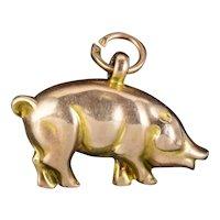 Antique Edwardian Pig Charm Pendant 9ct Gold Circa 1905
