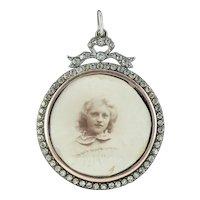 Antique Edwardian Paste Photo Locket Pendant Sterling Silver Circa 1915
