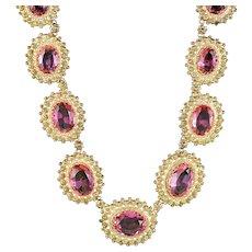Antique Victorian Cannetille Pink Paste Collar Necklace 18ct Gold Gilt Circa 1860