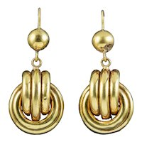 Antique Victorian Etruscan Knot Earrings 15ct Gold Circa 1880