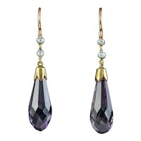 Antique Victorian Amethyst Pearl Drop Earrings 15ct Gold Circa 1900