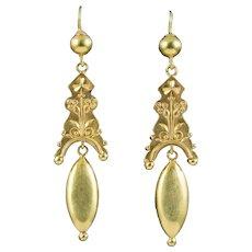 Antique Victorian Etruscan Revival Drop Earrings 18ct Gold Circa 1860