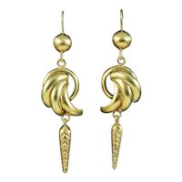 Antique Victorian Drop Earrings 9ct Gold Circa 1880