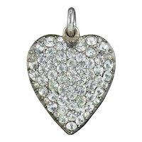 Antique Victorian Paste Heart Pendant Silver Circa 1890