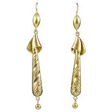 Antique Victorian Drop Earrings 15ct Gold Circa 1880