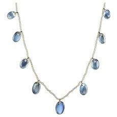 Antique Victorian Moonstone Pearl Garland Necklace Circa 1880