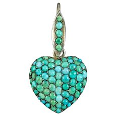 Antique Victorian Turquoise Heart Pendant Silver Circa 1890