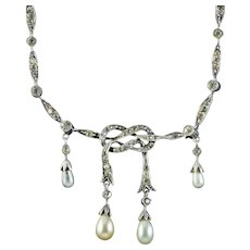 Antique Edwardian Pearl Paste Love Knot Lavaliere Necklace Silver Circa 1905