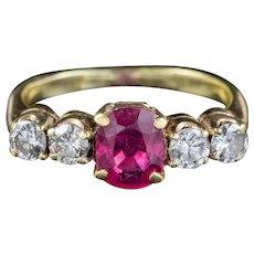 Antique Edwardian Ruby Diamond Ring 0.80ct Ruby Circa 1901